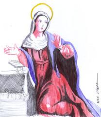 virgen a lapicero (ivanutrera) Tags: pen sketch drawing draw dibujo virgen ilustracion sacro lapicero boligrafo virgencita dibujoalapicero dibujoenboligrafo