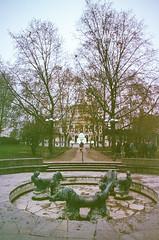 Opernplatz (hiphopmilk) Tags: park trees film fountain analog 35mm germany pond nikon europe kodak frankfurt analogue nikonfm2 oper fm2 deutsche alte taunusanlage opernplatz nikonfm2n 135film lucaebrunnen jaredyeh hiphopmilk