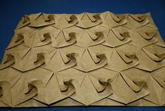 Twisted bird base tessellation (simple molecule) — angled view (Michał Kosmulski) Tags: brown origami tessellation birdbase elephanthidepaper michałkosmulski