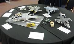 Teen fighters at Steam 2016 (Mad physicist) Tags: lego jets american usnavy usaf f14 f15 f16 fa18 brickish greatwesternbrickshowswindon steam