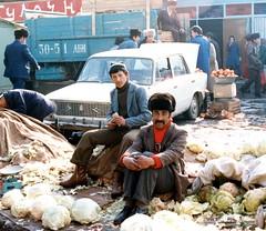 Selling cabbages in Soviet era market January 1985 (nick taz) Tags: selling cabbages market dushanbe sovietera tajikistan
