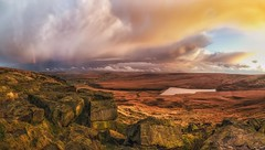 Pule Hill from Buckstones Panorama (Mark Schofield @ JB Schofield) Tags: pennines pennineway peat nationalpark thenationaltrust marsden huddersfield yorkshire landscape rock buckstones scammonden marchhaigh reservoir sunset rainbow pulehill moors moorland autumncolours