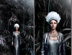'The Alchemy of Autumn.' (Laura Jane Harding) Tags: autumn sunlight silver metallic model makeup headpiece shiny fashion forest fairytale feathers conceptual grey portrait pose bamboo diptych beauty
