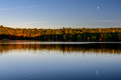 Sunset & Moonrise (pooroldtim) Tags: seawellpond nikon nikond810 240700mmf28 fall leaves color sunset moonrise maine