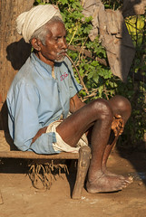 Baiga smoking old man (wietsej) Tags: baiga smoking old man aikal hills chhattisgarh india sony a100 zeiss sal135f18z 135