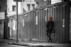 Taking a break (tootdood) Tags: canon70d blackandwhite selectivecolour streetcandid candid manchester new union street taking break