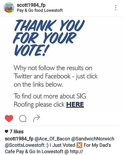 @Ace_Of_Bacon @SandwichNorwich @ScottsLowestoft :)  I Just Voted ❎ For My Dad's Cafe Pay & Go In Lowestoft @ http://www.britainsbestcafe.co.uk :)  #Lowestoft #Suffolk #Norfolk #Norwich #PayAndGo #PayAndGoCafe #CookeRoad #BestCa