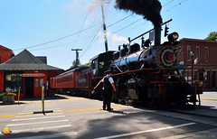 Crossing the Street - Arcade & Attica Railroad (DTD_4970) (masinka) Tags: no 18 engine locomotive steam arcade attica railroad railway train wny 716 road crossing black smoke depot historical