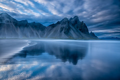 Reflections in the sea of Vestrahorn (lloydich) Tags: iceland july trip vestrahorn reflection mountain clouds white blue