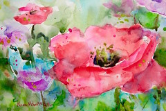 """""""poppy fields"""" (Nora MacPhail) Tags: remembrance day poppy poppies field canada noramacphail watercolour watercolor art painting paint drawing draw flowers flower floral landscape sketch sketching urbansketchers"""