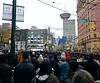 Remembrance Day Hastings Street Van16h04 (CanadaGood) Tags: canada britishcolumbia bc vancouver downtown remembranceday people person 2016 thisdecade canadagood colour color green red building tree hastingsstreet dominionbuilding harbourcentre