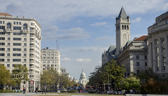 Pennsylvania Ave showing U.S. Capitol and Trump hotel (Tim Brown's Pictures) Tags: washingtondc pennsylvaniaave avenueofthepresidents uscapitol uscapitoldome trumphotel trumpinternationalhotel clocktower