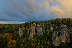 """Prachov Rocks in fall"" (Karel Hrouzek P H O T O) Tags: rocks mountains czech nature fall autumn hdr clouds sky tree woods forest morning sunrise sun illumination wild landscape landschaft view above tripod filter nd nikon sigma bohemian paradise eskrj"