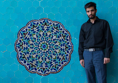 Iranian shiite man in jameh mosque in front of a blue mosaic, Yazd province, Yazd, Iran (Eric Lafforgue) Tags: 1people 30sadult adult adultsonly ancient architecture art artandcraft ceramic colorimage coloured cultural culture cultures day decorated decoration fridaymosque history horizontal indoors iran iranianculture jamehmosque lookingatcamera middleeast mosaic multicoloured mural onemanonly oneperson orient ornate pattern persia persian tile tiled tiles tilework traditional yazd yazdprovince ir