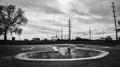 Dodge Park (tim.perdue) Tags: black white bw monochrome dodge park franklinton columbus ohio skate cyclist silhouette monovember 2016 monovember2016 city urban bike concrete bowl power lines tree landscape november afternoon overcast cloudy