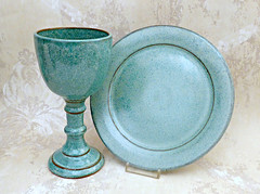 Paten and Chalice (MudsEvolutionPottery) Tags: home living spirituality religion church wedding ecclesiastical liturgical pottery speckled aqua plate goblet chalice paten drink wine sacrement kiddush cup mudsevolutionpottery communion set religious ceramics