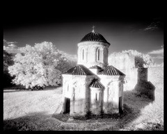 Kvetera (tsiklonaut) Tags: pentax 67 6x7 film analog analogue analogica analoog 120 roll medium format black white bw negro y blanco mustvalge efke ir820 ir820c infrared ir infra infrapuna gruusia georgia kvetera kakheti church christian christianity religion ancient old kirik vana iidne kultuur culture dramatic glowing dreaming dreamy surreal architecture georgian orthodox historic dome travel discover experience