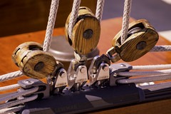 Pulley Point (joegeraci364) Tags: ocean wood sea abstract color art water sport sailboat print boat photo marine ship image yacht fine vessel rope hobby photograph maritime rig sail nautical pulley cleat rigging teak