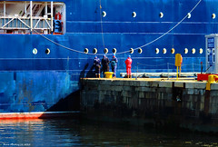 Scotland Greenock workmen watching the navigation buoy repair ship Pharos slowly inching out of dry dock 13 August 2015 by Anne MacKay (Anne MacKay images of interest & wonder) Tags: by leaving anne scotland greenock dock ship workmen picture dry august repair mackay 13 navigation buoy pharos 2015 xs1