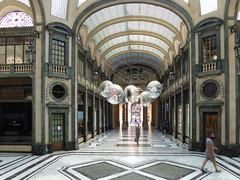 Turin: blue bag in Galleria San Federico (HansHolt) Tags: windows italy torino italia gallery floor arches column marble turin galleria italië bogen marmer zuil turijn etalages gallerij panasonicdmctz60 sanfrederico