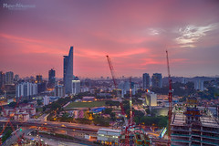 Beautiful Sunset from Kuala Lumpur (mahernaamani) Tags: pink sunset summer tourism beautiful clouds canon buildings wow landscape exposure cloudy malaysia kuala kualalumpur kl lumpur constructions 6d         canon6d