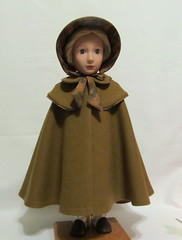 Double Cape and Bonnet, Front View (Keepersdollyduds) Tags: wool buttons double cape 16 plaid bonnet brass regency lined agfat agirlforalltimedolls patternproof