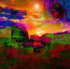 Hot Summer Landscape (virtually_supine) Tags: summer abstract collage photomanipulation landscape textures montage layers cubist digitalartwork vividcolours photoshopelements9 creativedigitalartcommunitychallenge2abstractlandscapes pse9effectslensflareoffsetpaintdaubs