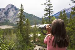 Through the Binoculars (tom.hartrey) Tags: travel trees canada mountains girl landscape view candid roadtrip wanderlust binoculars banff canon5d