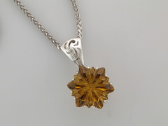Citrine sunflower SS pendant