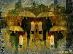 in the city its raining (Sonja Parfitt) Tags: city people reflection rain layered