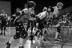 rebels_vs_panic_L1063659 1 (nocklebeast) Tags: ca usa santacruz rollerderby rollergirls zombies vampires skates organicpanic santacruzderbygirls redwoodrebels