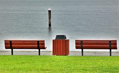 bench on the lake (paweesit) Tags: red lake water grass bench interestingness interesting seat bank parkbench paweesit