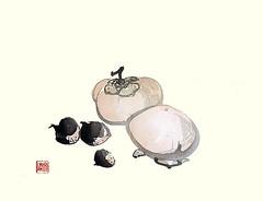 Chestnut and Japanese persimmon (Japanese Flower and Bird Art) Tags: flower chestnut castanea crenata fagaceae persimmon diospyros kaki ebenaceae bunto oka nihonga woodblock picture book japan japanese art readercollection