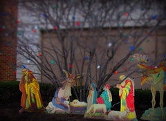 parum pum pum pum (Renee Rendler-Kaplan) Tags: christmas wood november decorations holiday building tree canon joseph outside outdoors colorful forsale gbrearview antique mary scene camel bulbs decor gapersblock babyjesus wbez wisemen nativityscene chicagoillinois chicagoist 2015 littledrummerboy miniaturized parumpumpumpum randolphstreetmarketfestival reneerendlerkaplan canonpowershotsx530hs