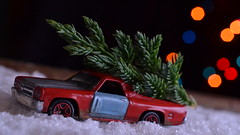 The Tree (mitchell_dawn) Tags: christmas winter snow cold macro chevrolet car toy pickup christmastree elcamino toycar matchboxcars mynameisearl macromondays thebeautyofbokeh