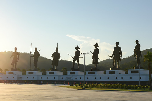 HUA HIN ,THAILAND - Dec11,2015 :Ratchapak Park and the statues of seven former Thai kings were constructed by the Royal Thai Army under royal permission from His Majesty King Bhumibol Adulyadej