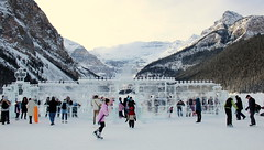 Sculpture and Skating (chrisroach) Tags: lake canada ice festival landscape rockies frozen iceskating skating glacier skate lakelouise icesculpture canadianrockies