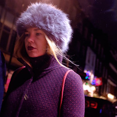 Fur Hat (Michael Goldrei (microsketch)) Tags: street portrait people woman london film wet girl face hat rain weather st lady night dark fur t photography photo furry long exposure fuji photographer darkness faces time photos jan soho january x nighttime rainy fujifilm after 100 16 russian raining drizzle 2016 xseries drizzling drissle x100t drissling