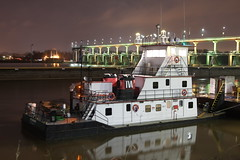 RED WAGNER (Boat Spotters) Tags: bridge red tourism rock night work river boat big marine ship traffic time little dam tennessee authority valley tugboat arkansas tug shipping wagner barge towboat lock7 rivertraffic