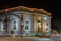 Christmas is right around the corner... (tquist24) Tags: christmas longexposure night geotagged nikon mainstreet downtown unitedstates bank indiana elkhart hdr nikond5300