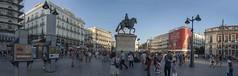 Plaza Puerto de Sol (shottwokill) Tags: europe spain madrid nikon 28300 d800 plazapuertodesol streetscene cityscape travel architecture statue randompeople