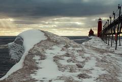 Grand Haven Ice Wave (matthewkaz) Tags: grandhaven frozen ligthouse pier grandhavenlighthouse lakemichigan greatlakes lake water ice snow winter wave catwalksky clouds michigan 2016