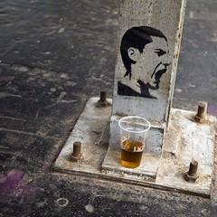 Fermentation basse (Gerard Hermand) Tags: 1609304746 gerardhermand france paris canon eos5dmarkii formatcarr malakoff larserve sol ground poteau pole man homme cri shout graf metal rouille rust verre glass bire beer