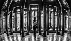In The Gallery (derek.dpr) Tags: palau guell palauguell gaudi architecture architectural interior barcelona espana spain spanish bw black bianco nero noir monochrome mono olympus omd em10 fisheye fish