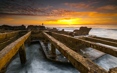 Fishing time (marcolemos71) Tags: seascape sea water waves structures waterruins concret fisherman rocks sky clouds sunset longexposure cascais caboraso portugal