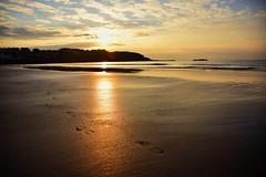 October calm (skippyjon2010) Tags: sunset portrush antrim sun beach sand water reflections footsteps waves atlantic