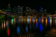 City Lights (Dioniks) Tags: darlingharbour building city harbour light night water australia sydney skyline bright architecture outdoor waterfront colors colours bridge tower westfield evening