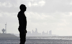 Liverpool (nicnac1000) Tags: gormley liverpool england liverpooluk bw mersey statue beach see skyline silhouette