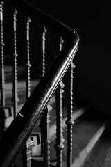 Staircase detail (#168) (Lucky Poet) Tags: glasgow scotland bannister blackwhite dark handrail monochrome stairs steps tenement