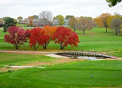 Wayne Golf Course landscape with bridge (ali eminov) Tags: outdoors wayne nebraska golfcourses waynegolfcourse seasons fall colors trees bridges landscapes
